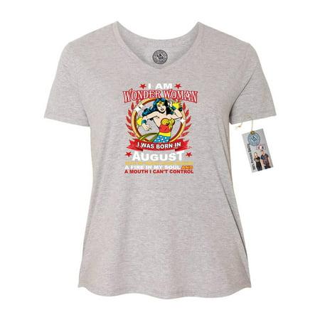 Wonder Woman Born In August Superhero Plus Size Womens V Neck T-Shirt Top](Plus Size Womens Superhero Shirts)