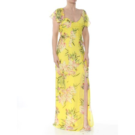 GUESS Womens Yellow Slitted Printed Maxi Short Sleeve V Neck Full-Length Sheath Party Dress  Size: (Cw X Womens 3 4 Length Revolution Tights)