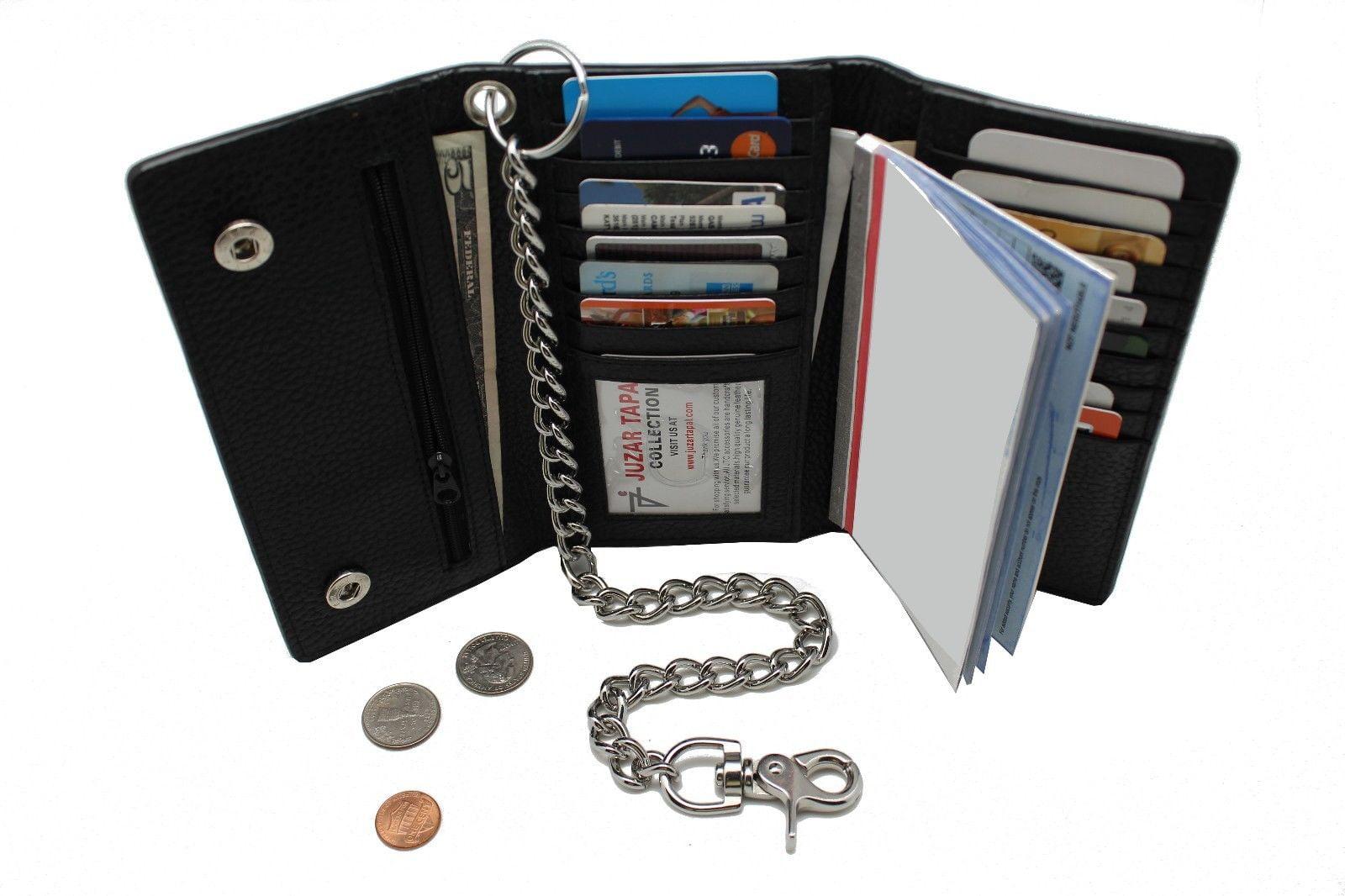 Biker Men/'s Black Leather Long Checkbook Trifold Chain Wallet RFID Blocking 212