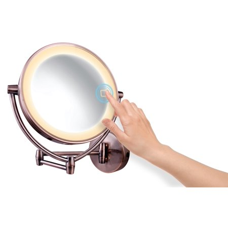 Ovente Wall Mount Mirror with 3 LED Lighting Tones (Daylight, Cool, Warm), 9.5 Inch, Battery or Cord Operated, 1x/10x Magnification, Antique Brass (MLW95AB1x10x)