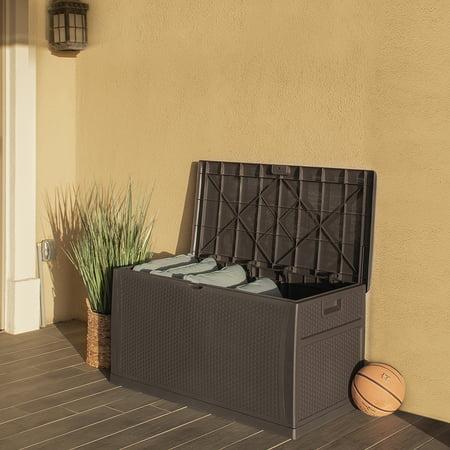 Barton 120-Gal Outdoor Deck Box Resin Patio Storage Container Storage Box Large Bin Store Backyard ()