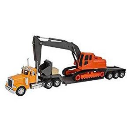 New Ray Die-Cast Truck Replica - Peterbilt Big Rig with Backhoe, 1:32 Scale, Model# 11283 Big Rig Truck Games