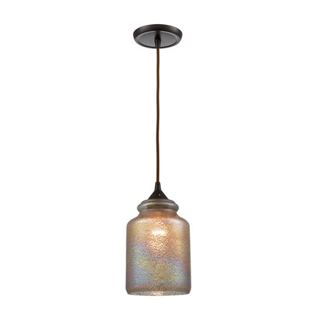 Illuminessence 1-Light Mini Pendant in Oil Rubbed Bronze with Textured Gray Dichroic -