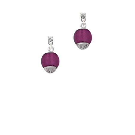 - 12mm Purple Roller Spinner with Silvertone Lining Glass Spinner Clear Crystal Post Earrings