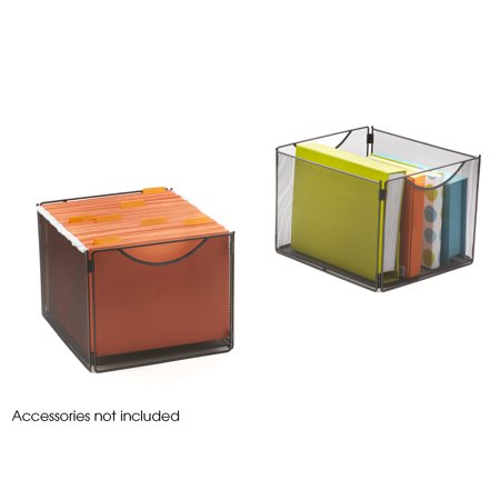 - 2173BL Onyx Office Accessory 20 Lbs Weight Capacity Per Cube Black Steel Mesh Cube Bins (Qty. 2)