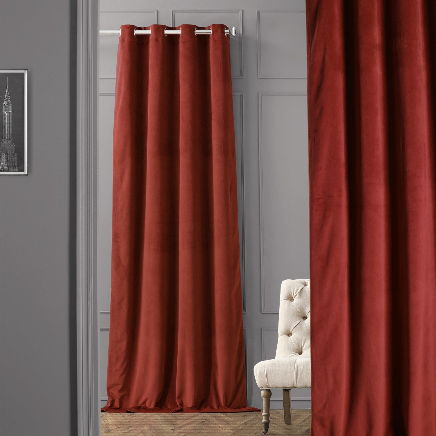 Exclusive Fabrics Burgundy Grommet Velvet Blackout Curtain Panel Walmart Com Walmart Com