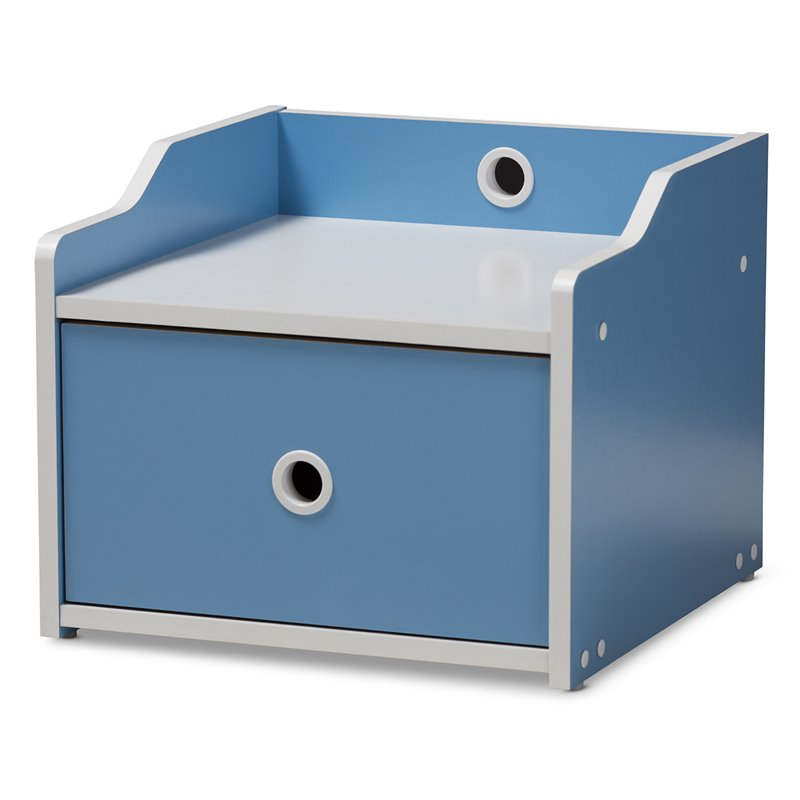 Baxton Studio Aeluin Children's Blue and White Finished Nightstand