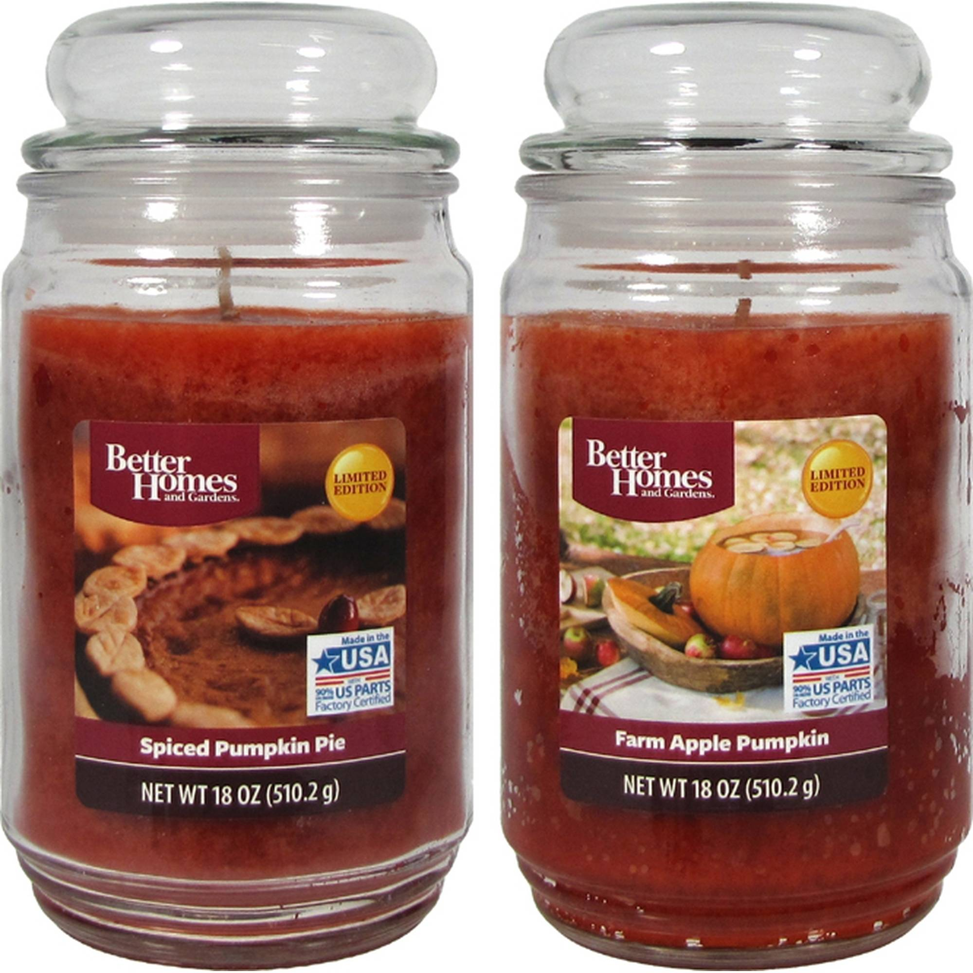 Better Homes And Gardens 18oz 2 pk. PUMPKIN ASSORTMENT - Farm Apple Pumpkin, Spiced Pumpkin Pie