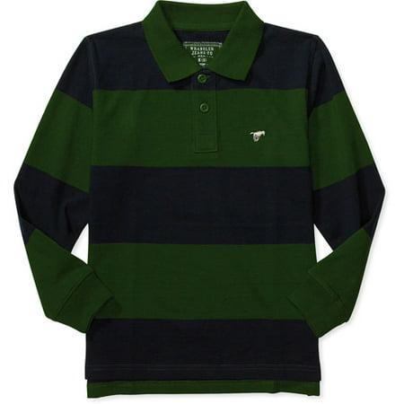 Wrangler boys 39 long sleeve stripe polo shirt for Long sleeved polo shirts for boys