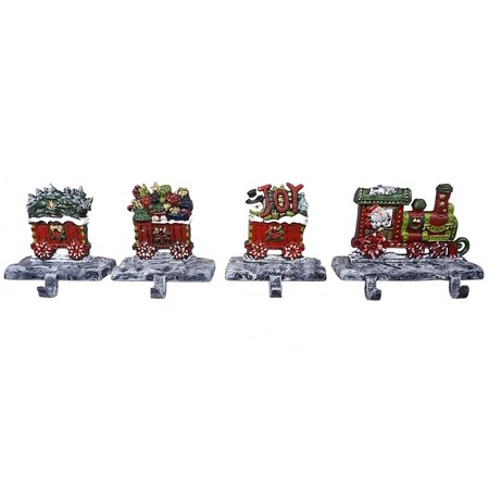 Christmas Train Cast.Lulu Decor 2d Train Christmas Stocking Holder With 3 Rail Carts 100 Cast Iron With 5 Hooks 2d Train Walmart Com