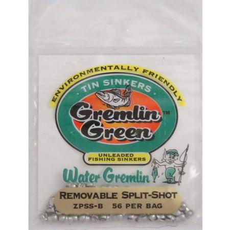 Water Gremlin's Green/Tin Removable Split Shot Sinker, ZPSS-B, 56 Pieces Per Pouch