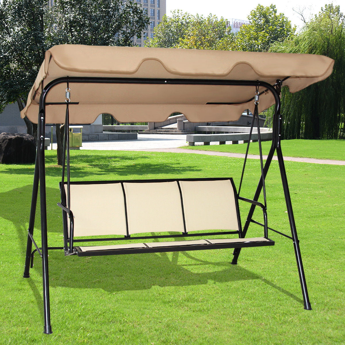 costway outdoor patio swing canopy 3 person canopy swing chair patio hammock brown. Black Bedroom Furniture Sets. Home Design Ideas