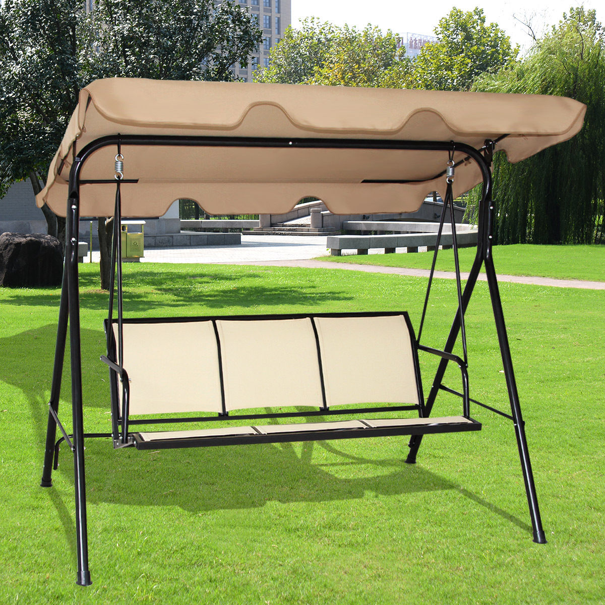 Product Image Costway 3 Person Outdoor Patio Swing Canopy Awning Yard  Furniture Hammock Steel Beige