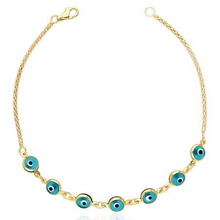 Kenneth Cole Bezel Bracelet (14k Yellow Gold Bezel Evil Eye Popcorn Bracelet 7