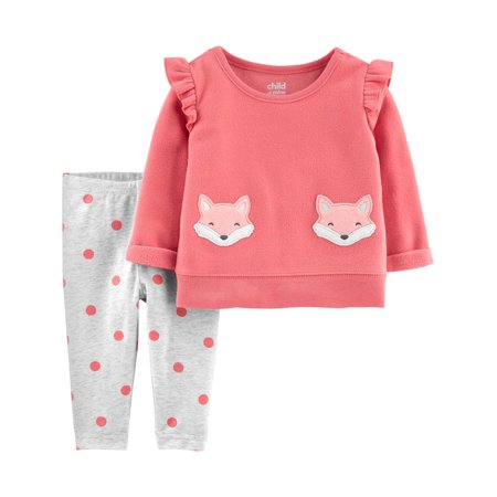 Child of Mine by Carter's Toddler Girl Ruffle Shoulder Long Sleeve Fleece Top & Pants, 2 pc Outfit Set ()