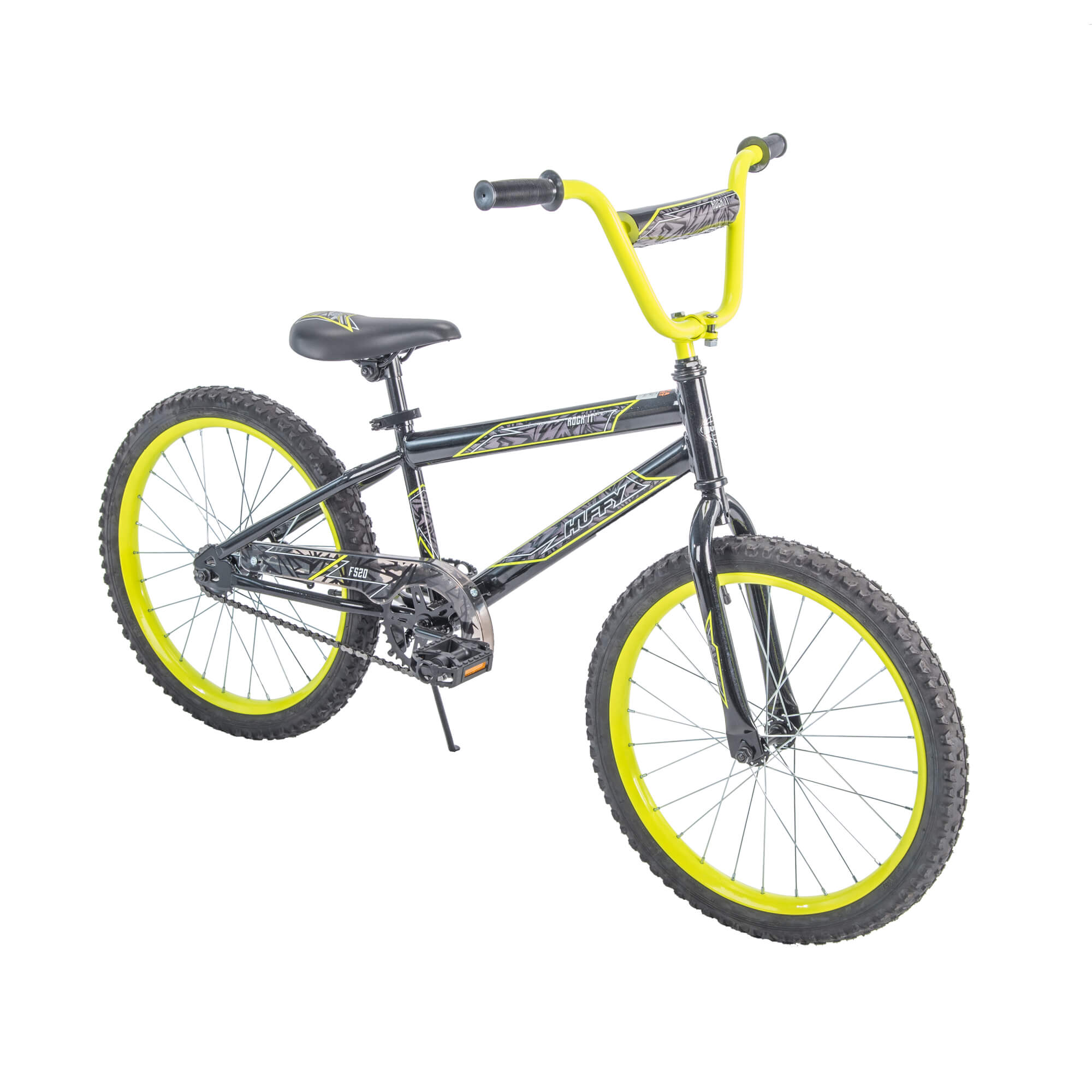 "Huffy 20"" Rock It Boys' Bike, Metallic Black with Neon Yellow Accents"