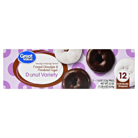 Great Value Donut Variety, Frosted Chocolate & Powdered Sugar, 22 oz, 12 Count
