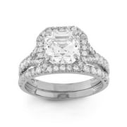 10k Gold 4 9/10ct TGW Asscher-cut Cubic Zirconia 2-piece Bridal Set Ring 10KT White Gold- Size 5