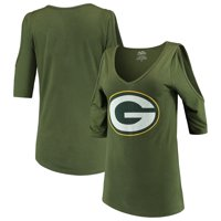 Green Bay Packers Majestic Threads Women's Cold Shoulder 3/4-Sleeve V-Neck T-Shirt - Green