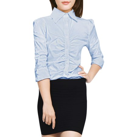 Women's Single Breasted Long Sleeves Ruched Front Shirt