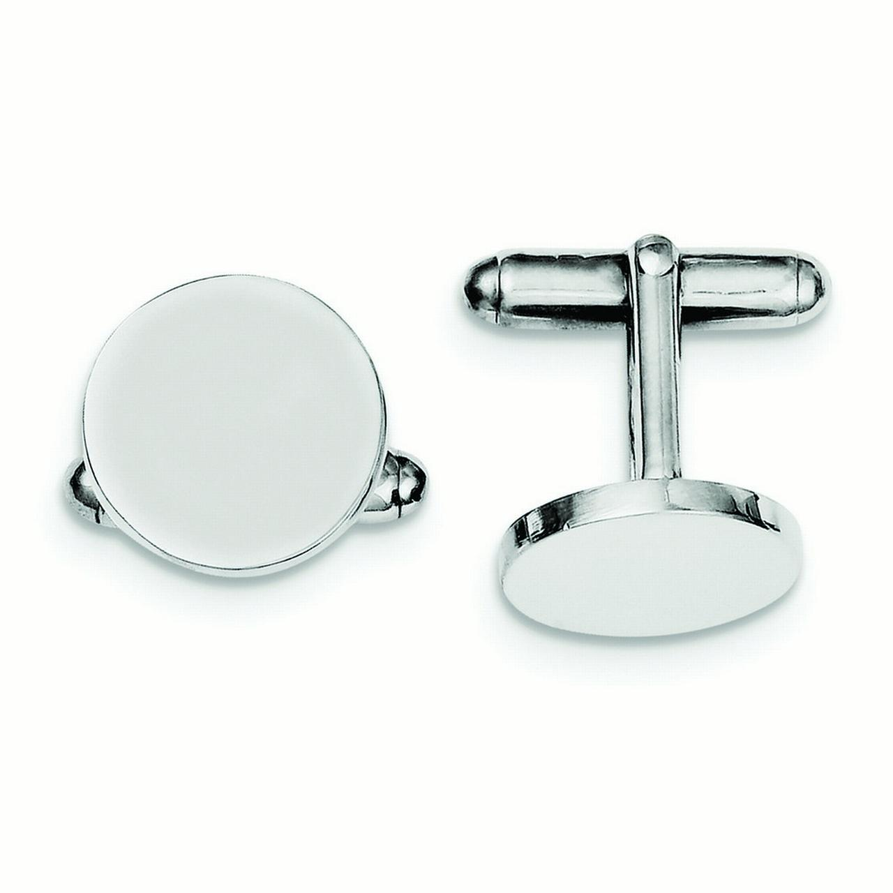 Sterling Silver Round Cuff Links - 10.6 Grams