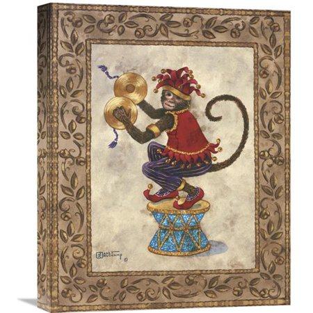 Global Gallery Monkey With Cymbals' by Janet Kruskamp Painting on Wrapped Canvas for $<!---->