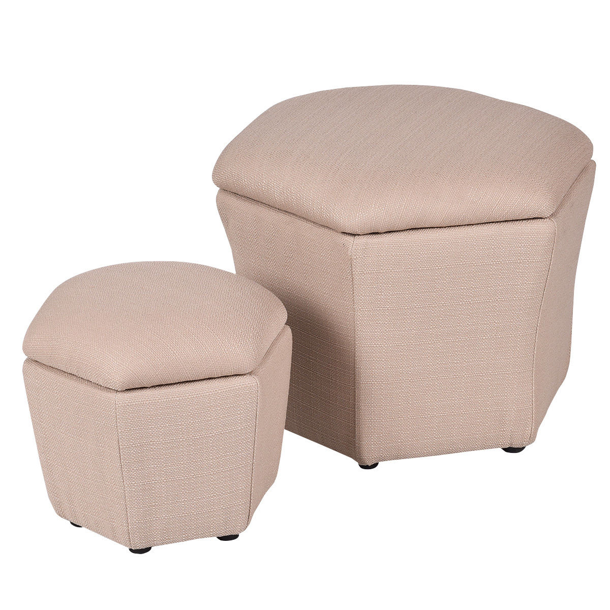 Costway Set of 2 Ottoman Set Storage Box Seat Footstool Rest Bench Organizer by Costway