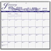"G1000-17 At-A-Glance Illustrated Monthly Wall Calendar - Monthly - 11.75"" x 12"" - 1 Year - January till December - 1 Month Single Page Layout - Paper - Blue, White"
