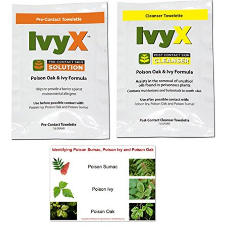 IvyX Poison Oak & Poison Ivy Pre-Contact & Post-Contact Urushiol Block and Cleanser Combo 15 Individual Travel Towelettes Each (30 Total) Includes Poison Ivy, Poison Oak and Poison Sumac ID