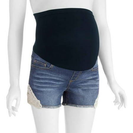 2b6aeda33a243 Planet Motherhood Maternity Over Belly Seamless banded, Fringe Bottom, Denim  Short with Crochet Lace Medallion Trim --Available In Plus Size