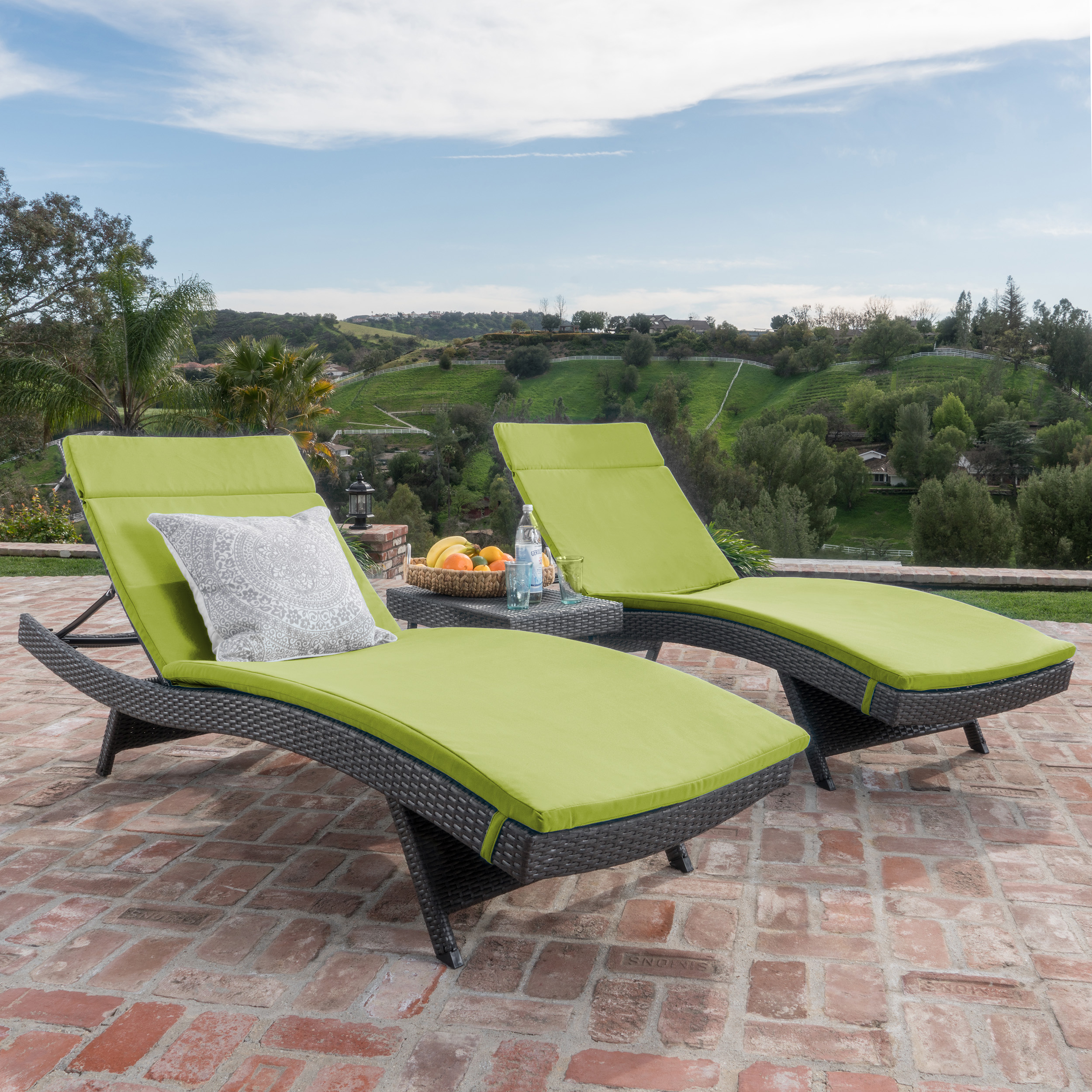 Savana 3-Piece Outdoor Wicker Lounge with Water Resistant Cushions and Coffee Table, Grey/ Bright Green