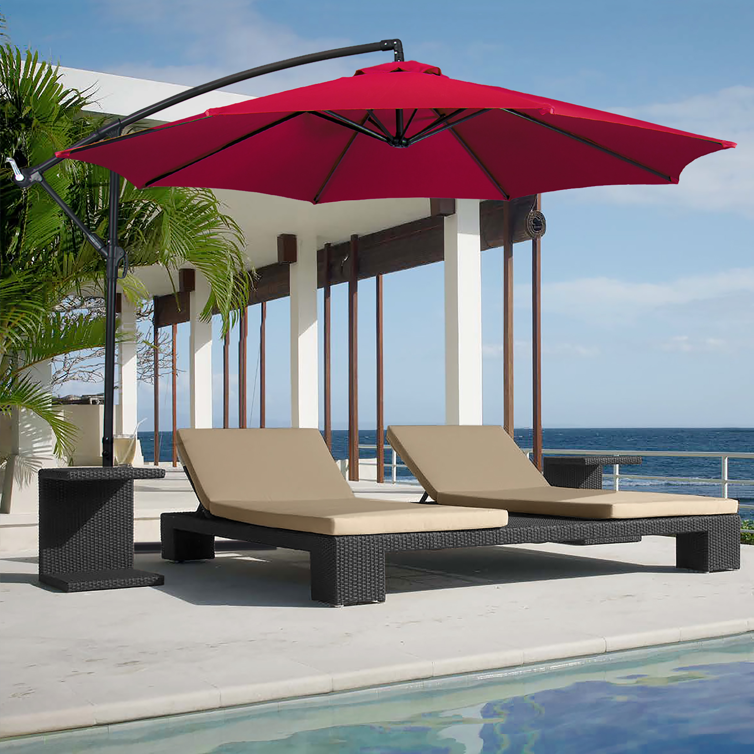 Costway 9ft Patio Solar Umbrella LED Patio Market Steel Tilt W/ Crank  Outdoor (Tan)   Walmart.com