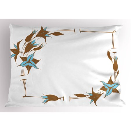 Brown and Blue Pillow Sham Floral Pattern with Lines Curves Botany Inspired Abstract Art, Decorative Standard Size Printed Pillowcase, 26 X 20 Inches, Caramel Pale Blue White, by (Blue Caramel)