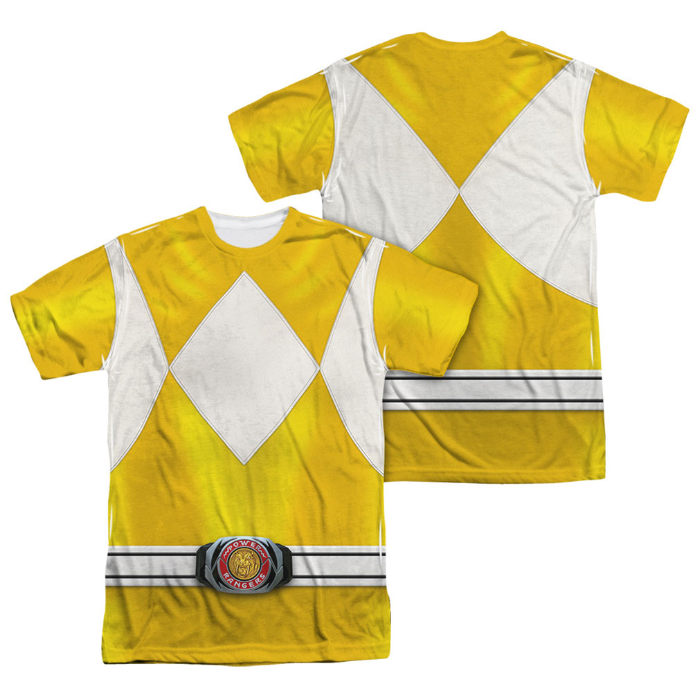 Power Rangers Men's  Yellow Ranger  Sublimation T-shirt White