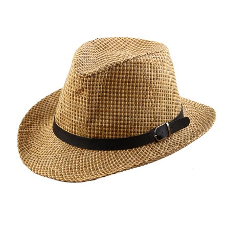 Men Straw Braided Faux Leather Band Decor Western Style Sunhat Cowboy Hat
