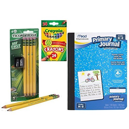 Writing Bundle for PreK to Grade 2 (Primary Pencils and Journal, Sharpener, and Crayons) - image 1 de 1