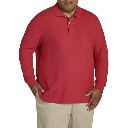 - Men's Long Sleeve Pocket Pique Polo