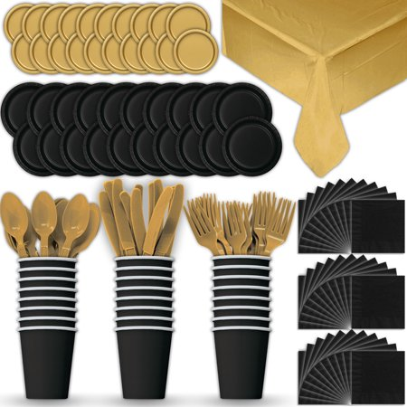Gold Dinner Knife - Paper Tableware Set for 24 - Black & Gold - Dinner and Dessert Plates, Cups, Napkins, Cutlery (Spoons, Forks, Knives), and Tablecloths - Full Two-Tone Party Supplies Pack