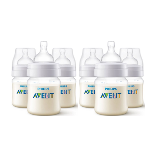 (2 Pack) Philips Avent Anti-Colic Baby Bottles - 4oz, Clear, 3ct