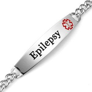 Epilepsy Medical ID SlimLine Stainless Link Bracelet 7 Inch