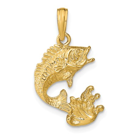 14k Yellow Solid Gold Polished Bass Fish Pendant