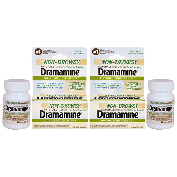 Dramamine Non-Drowsy Naturals Motion Sickness Relief, 18 Count, 2 Pack