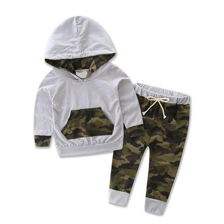 Kids Clothing Stores Online (Bilo store Infant Baby Boy Camouflage Hoodie Top and Pants Outfit (70/ 3-6)