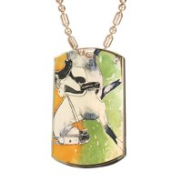Product Image KuzmarK Gold Pendant Dog Tag Necklace - Dappled Gray Andalusian Dressage Horse Art by Denise Every