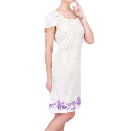 Women's Floral Cap Sleeve Cotton Nightgown by EZI - Royal Blue Cap And Gown