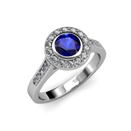 Blue Sapphire and Diamond (VS2-SI1, F-G) Halo Engagement Ring 1.36 ct tw in 18K White Gold.size 5.5