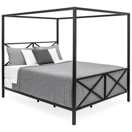 - Best Choice Products Modern 4 Post Canopy Queen Bed w/ Metal Frame, Mattress Support, Headboard, Footboard - Black