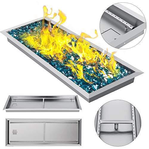 Vevor 35 5 X12 Drop In Fire Pit Pan W Burner Rectangular Natural Gas Fireplace Parts