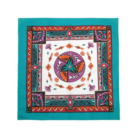 CTM®  Womens Cotton Aztec Turquoise Bandanas, Turquoise - Cotton Bandanas