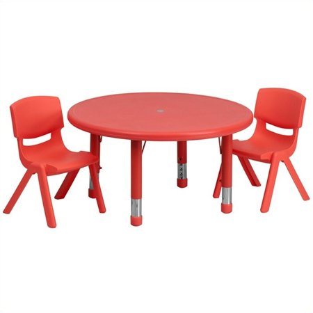"Bowery Hill 3 Piece 45"" Round Adjustable Table Set in Red - image 1 de 2"